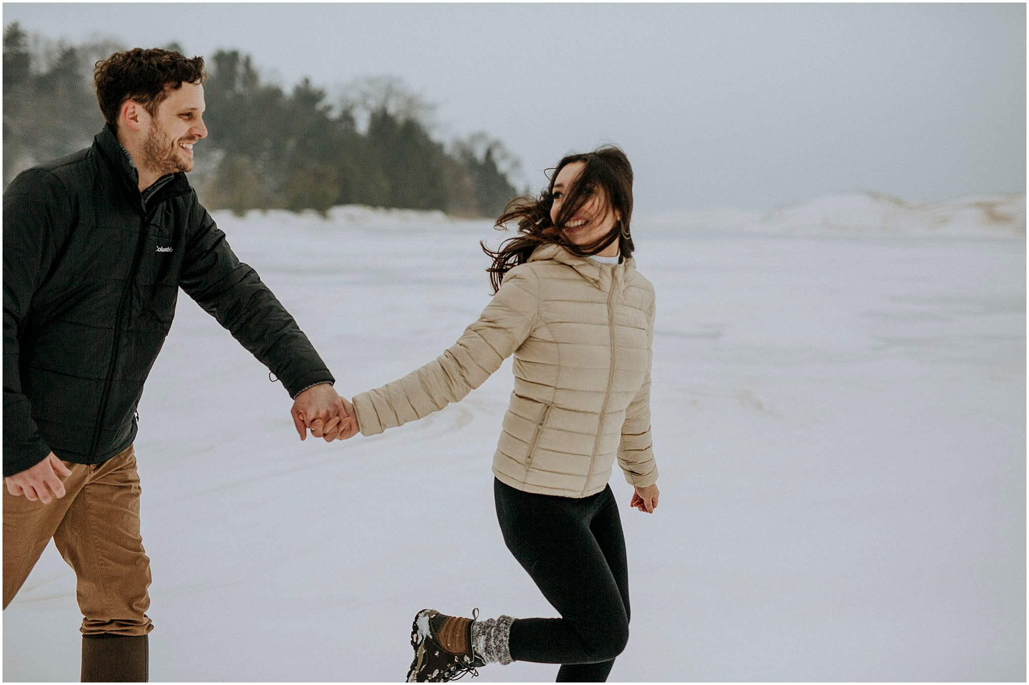 northern michigan winter engagement